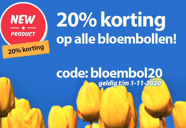 20% korting op alle bloembollen tm 1 november